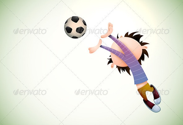 Child Soccer Player Goalkeeper Faults Toward the F - People Characters