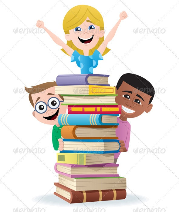 Books and Kids - Characters Vectors