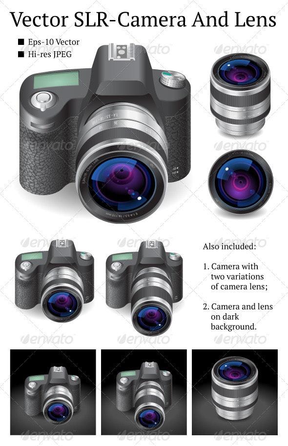 Vector SLR-Camera And Lens - Objects Vectors