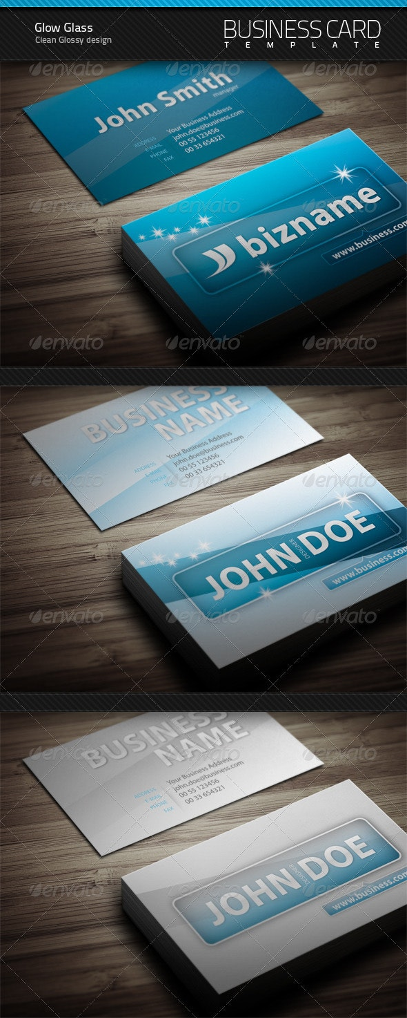 Glow Glass Business Card - Corporate Business Cards