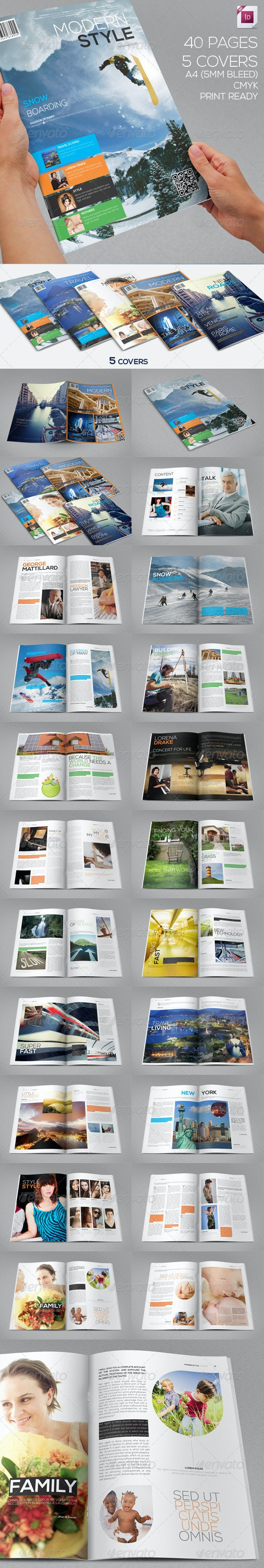 Modern Style Magazine | 40 Pages | 5 Covers - Magazines Print Templates
