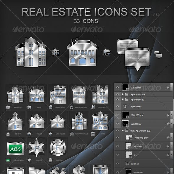 30 3d Real Estate Icons Set