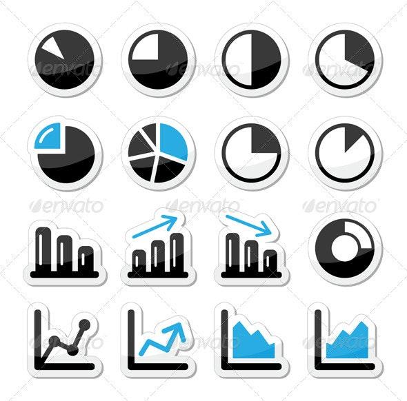 Chart graph black and blue icons as labels - Web Elements Vectors