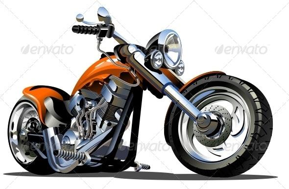 Vector Cartoon Motorbike - Man-made Objects Objects