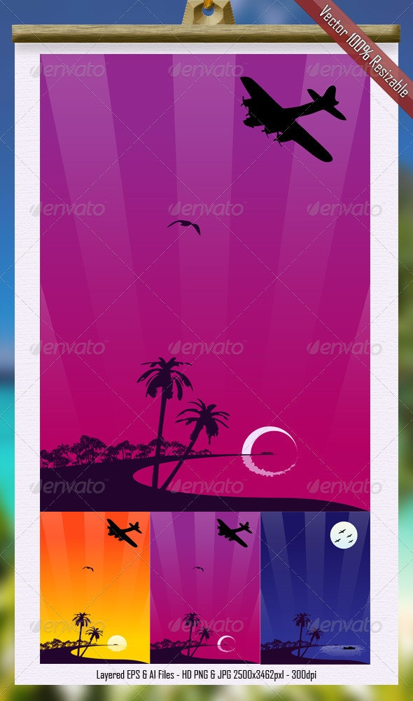 Paradise Vector Vertical Illustration - Backgrounds Decorative