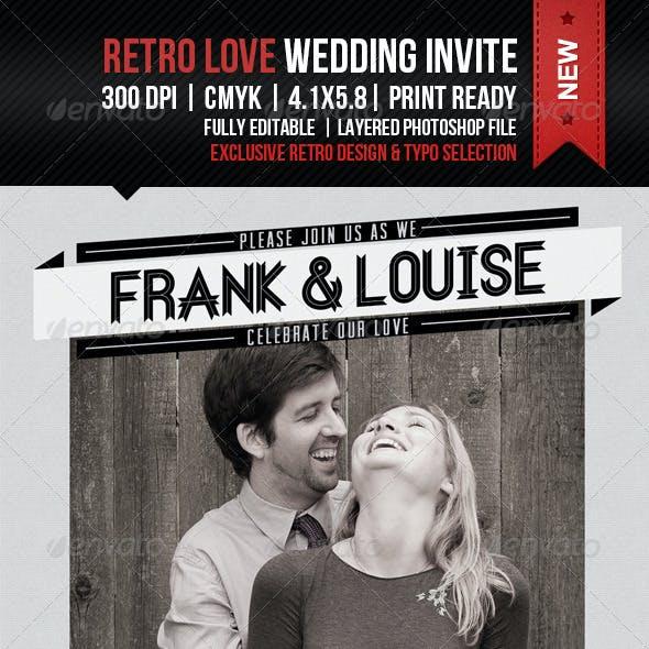 Retro Love Wedding Invitation