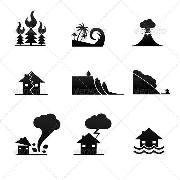 Natural Disaster Icons - Nature Conceptual