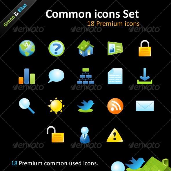 18 Premium icons - Common icons Set