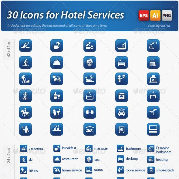 30 Icon Vector for Hotel Services
