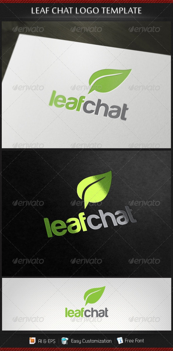 Leaf Chat Logo Template - Nature Logo Templates