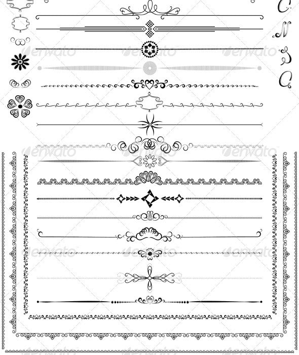 Calligraphic Elements and Dekor for Pages - Borders Decorative