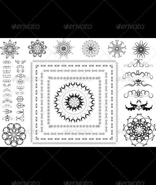 Collection of Calligraphic Brushes and Patterns - Borders Decorative