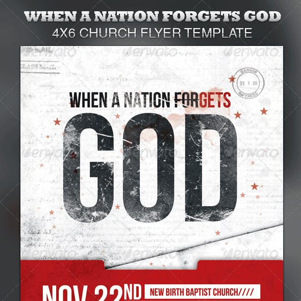When A Nation Forgets God Church Flyer Template