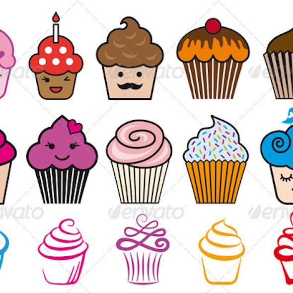 Cupcake Designs, Vector Set