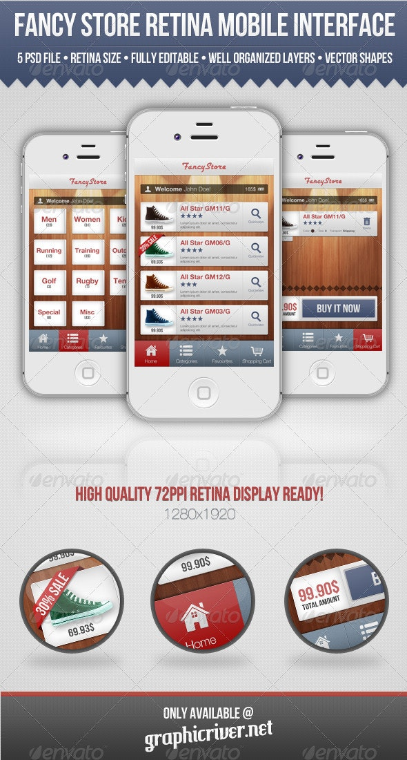 Fancy Store Retina Mobile Interface - User Interfaces Web Elements