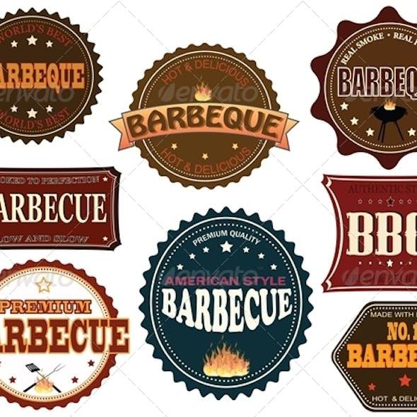 Set of barbeque labels