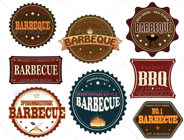 Set of barbeque labels - Food Objects
