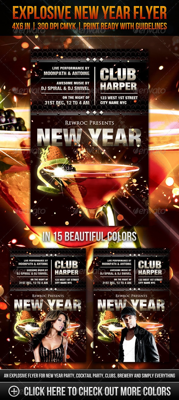 Explosive New Year Flyer - Clubs & Parties Events