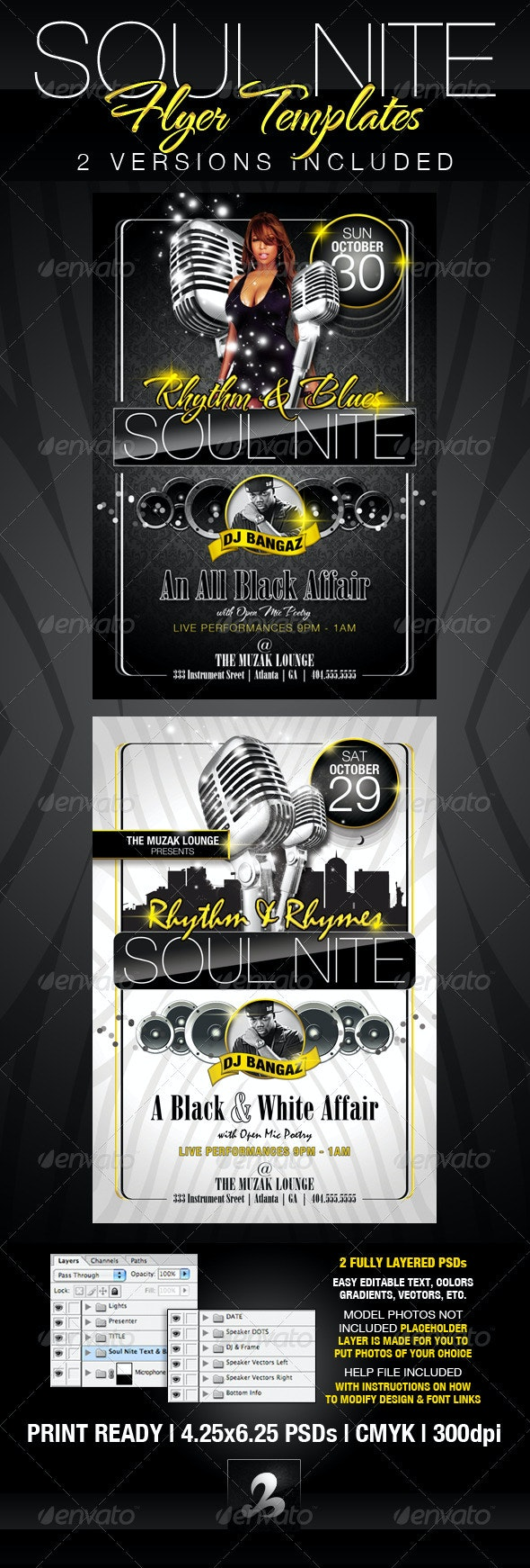 Soul Nite Flyer Templates - Clubs & Parties Events