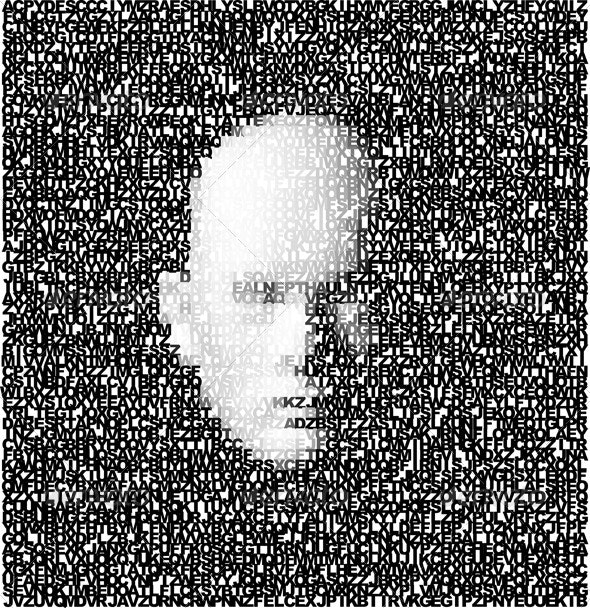 Abstract 3d Vector Face Made Of Letters - People Characters
