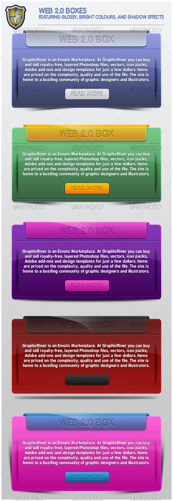 Stylish Web 2.0 Boxes - Web Elements