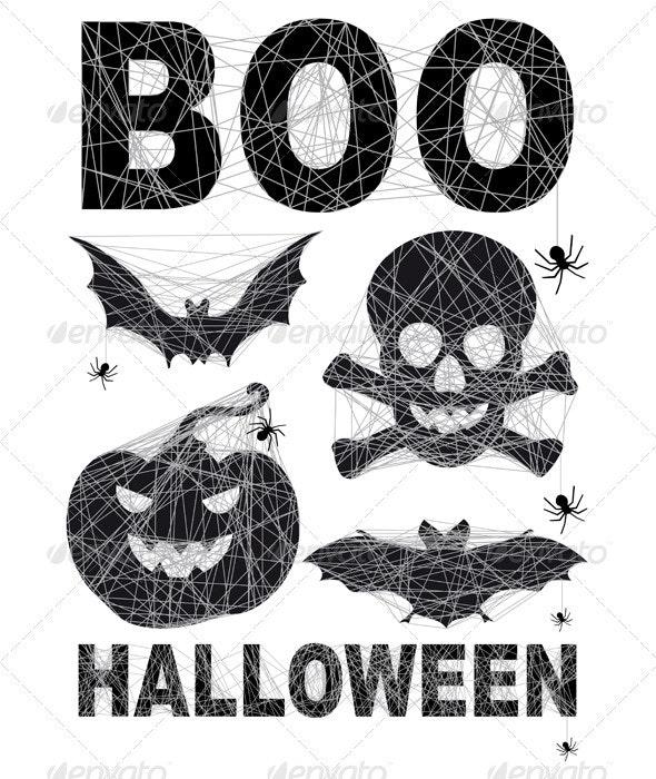 Halloween Icon Set With Spidernet, Vector - Halloween Seasons/Holidays