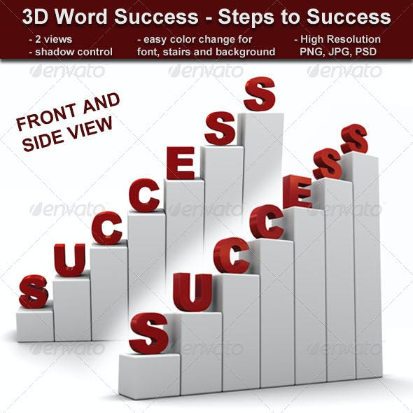 3D Word Success - Steps to Success