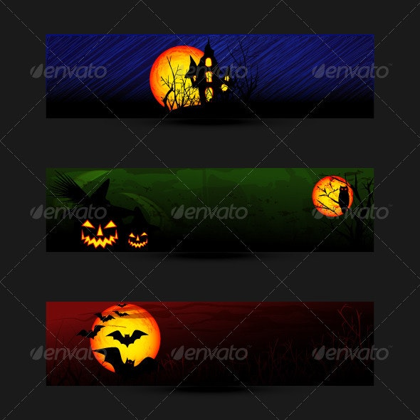 Set of Colorful Halloween Banner or Web Header - Halloween Seasons/Holidays