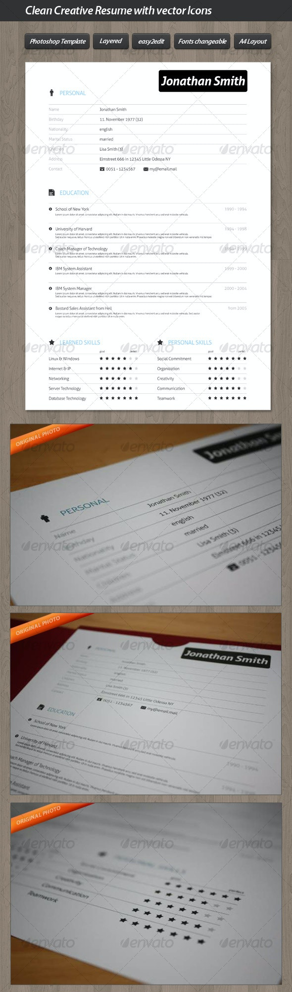 Clean Creative Resume with Vector Icons - Resumes Stationery