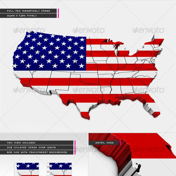 3D USA Map with States and National Flag