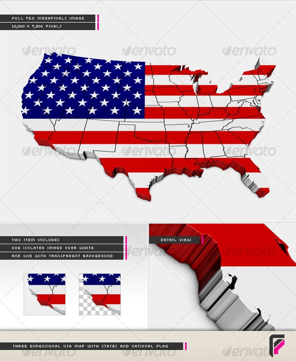 3D USA Map with States and National Flag - Backgrounds Graphics