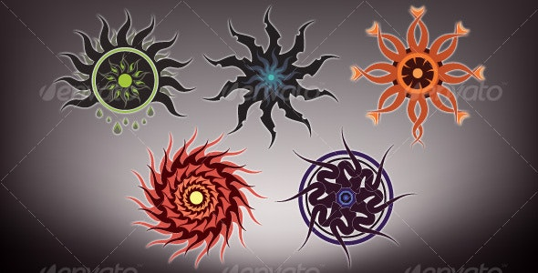 Tribal Style Vector Suns - Tattoos Vectors