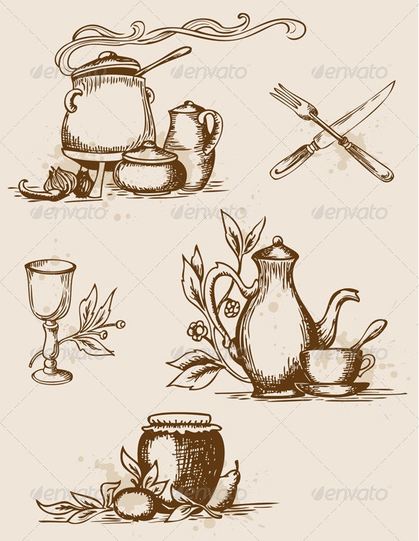 Antique Tableware - Food Objects