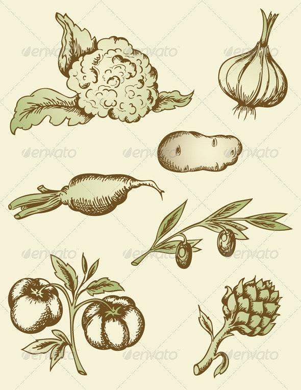 Vintage Vegetables - Food Objects