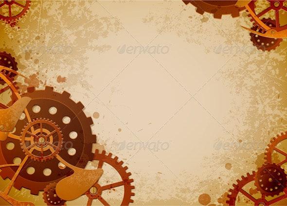 Steampunk Background - Retro Technology