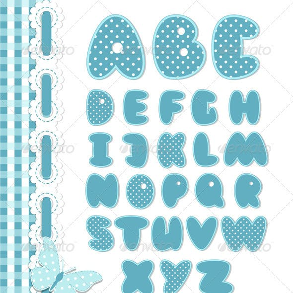 Retro Scrapbook Font Blue Color