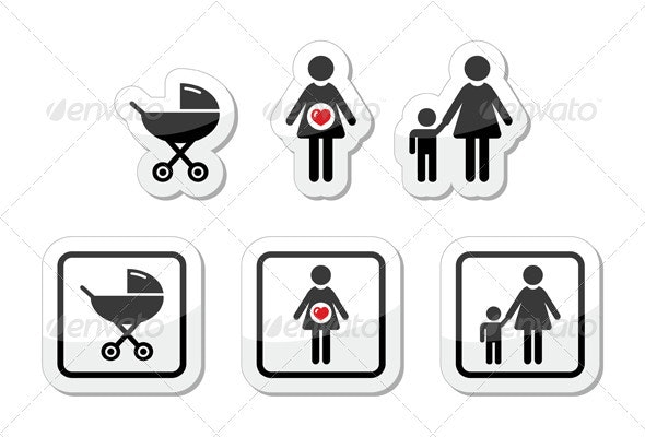 Baby icons set - parm, pregnancy, mother - People Characters
