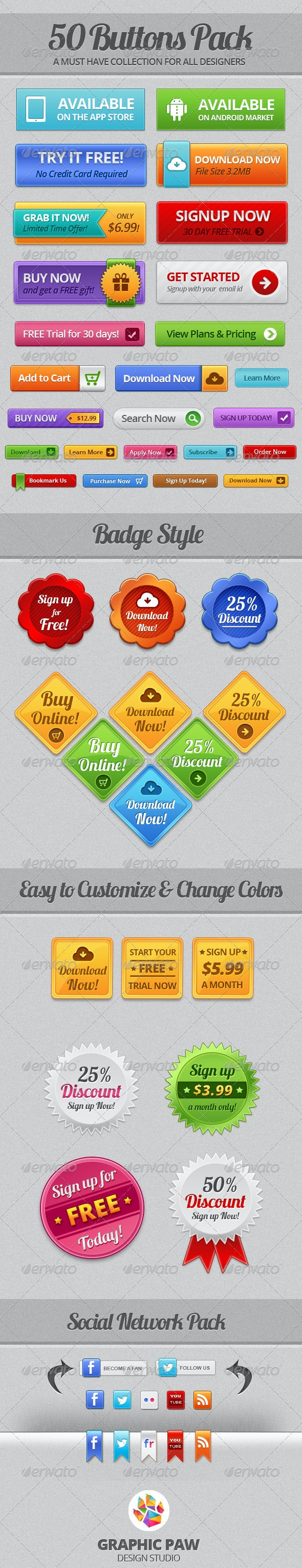 50 Buttons Pack - Buttons Web Elements