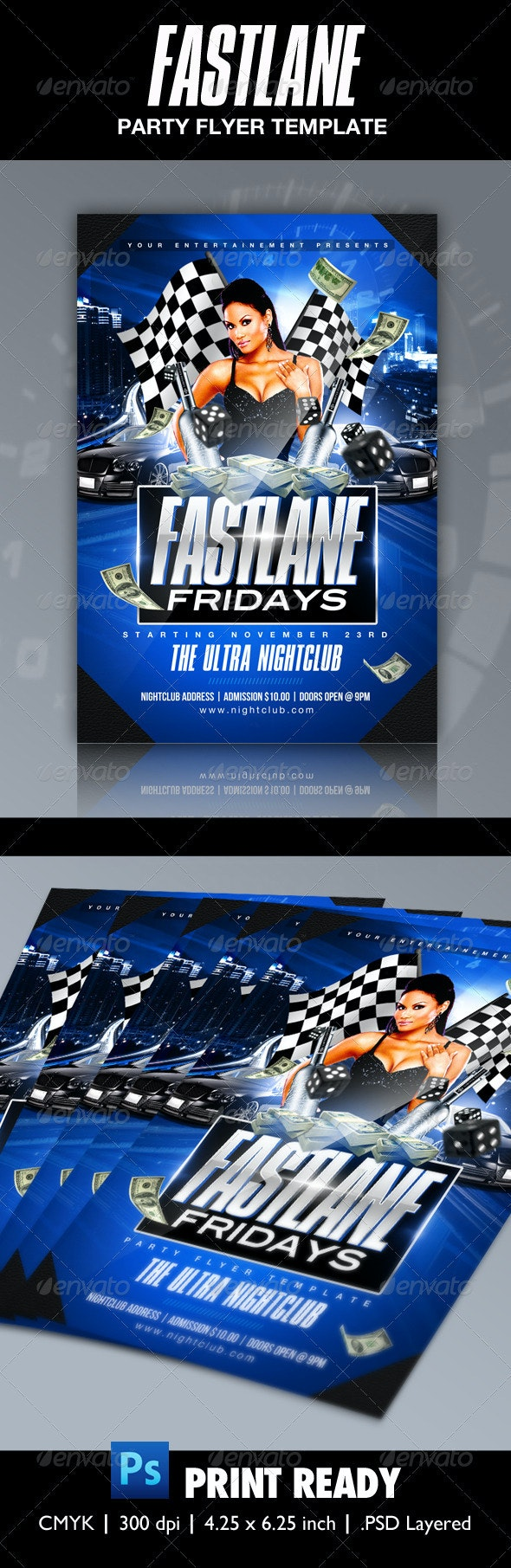 Fast Lane Party Flyer Template - Clubs & Parties Events