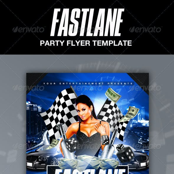 Fast Lane Party Flyer Template