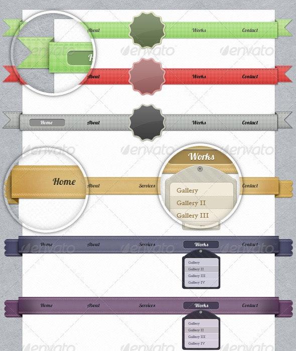 Textures Navigation Ribbons - Navigation Bars Web Elements