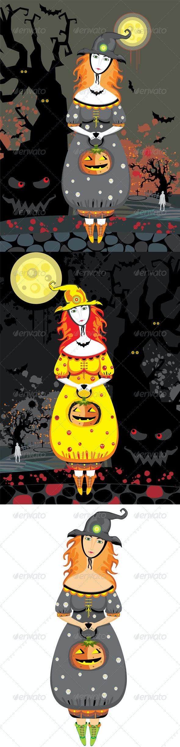 Halloween Girl Witch Cemetery Night - Halloween Seasons/Holidays
