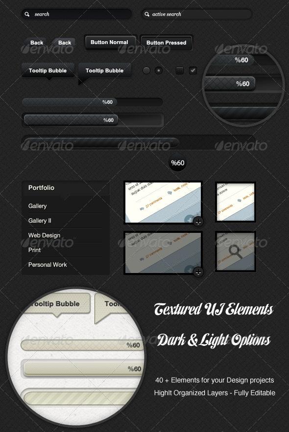 Textured Dark & Light colored UI Elements - Miscellaneous Social Media