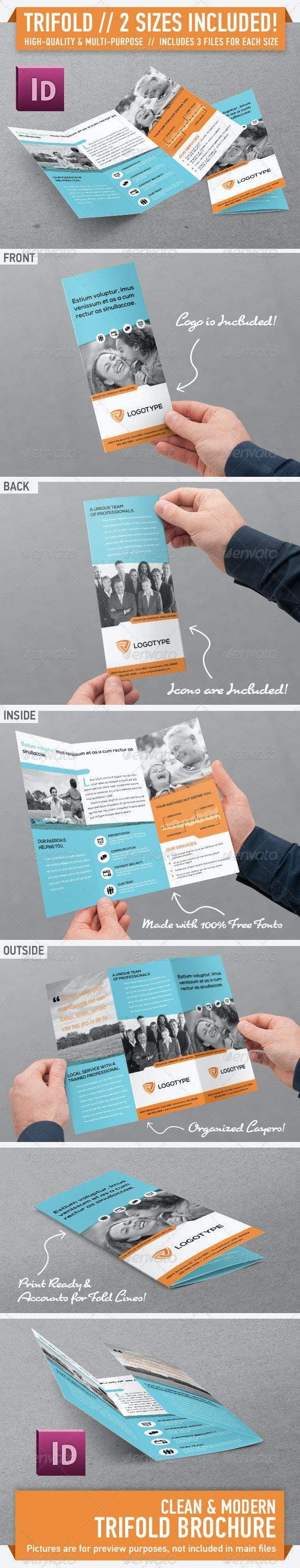 Clean Modern Trifold Brochure - Vol. 2 - Corporate Brochures