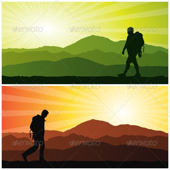 Backpacker Silhouette - People Characters