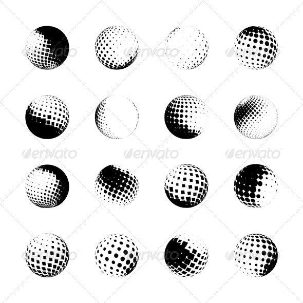 Halftone Spheres - Decorative Vectors