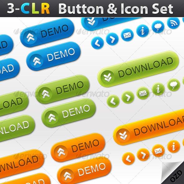 3-Color Button & Icon Set
