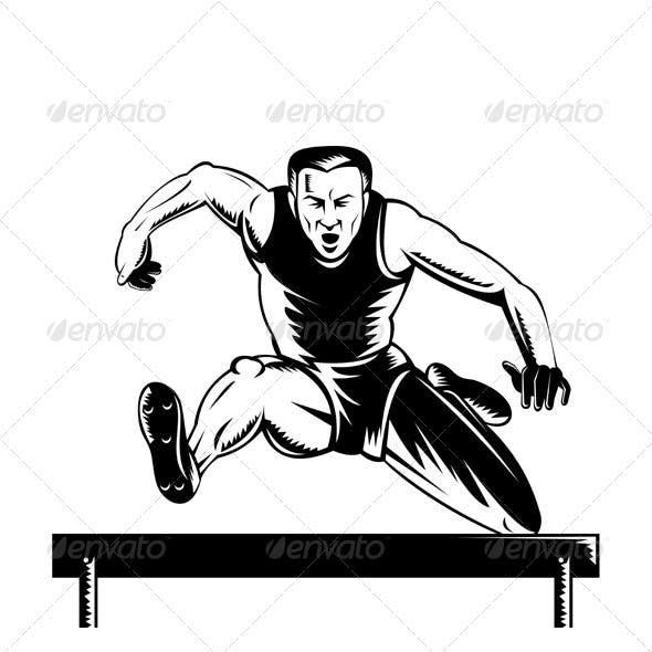 Track and Field Athlete Jumping Hurdles