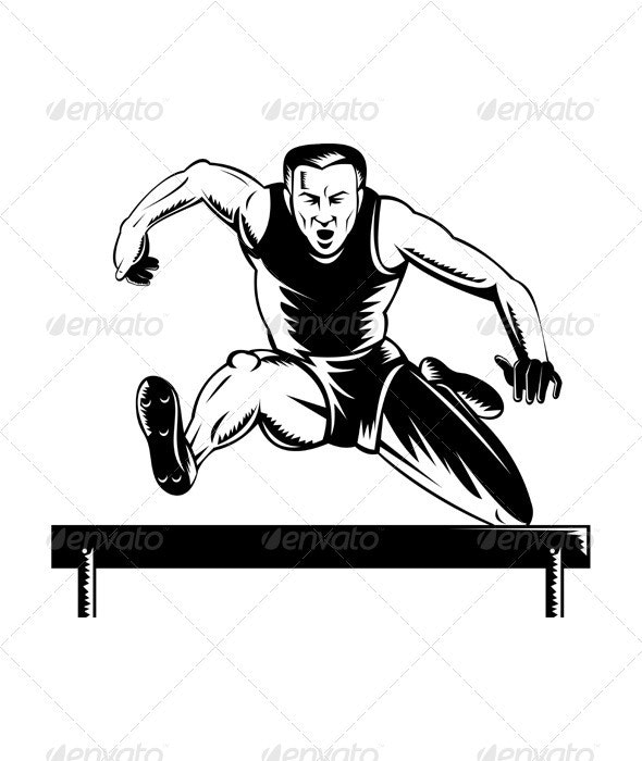 Track and Field Athlete Jumping Hurdles  - Sports/Activity Conceptual