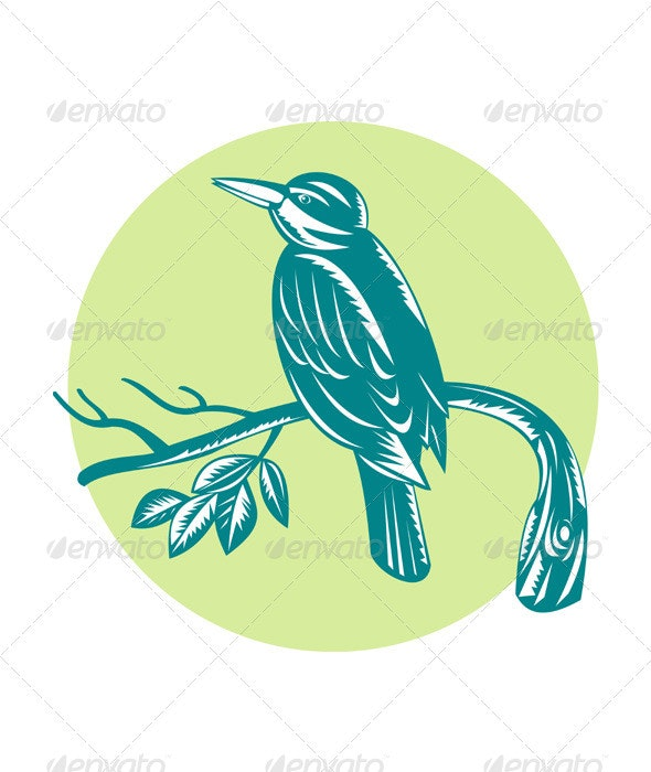 Kingfisher Perching On Branch Woodcut  - Animals Characters